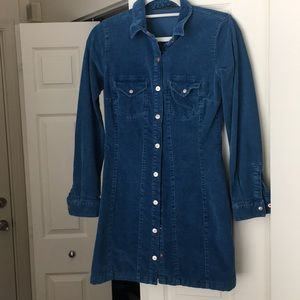 Denim blue corduroy button up dress